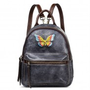 Vintage Handmade Small Backpack Retro Original 3D Butterfly Lady Cowhide Backpack