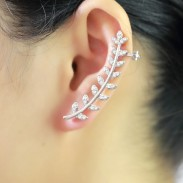 Cute Leaves Branches Rhinestone Ear Clips