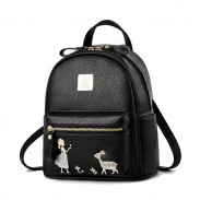 Fresh Embroidery Angel Girl Deer Cartoon Small PU School Backpack