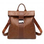 Retro Brown Multi-function Handbag PU College Backpack