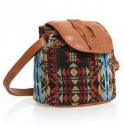 Folk Style Geometry Weave Leather Shoulder Bag
