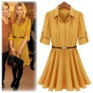 Fresh Sleeve Wrinkle Chiffon Dresses