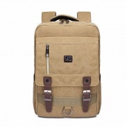 Retro Square Double Belt Canvas Bag School Rucksack Large Travel Backpack