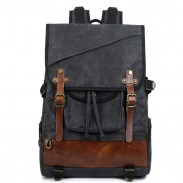 Leisure Oblique Zipper Men's Outdoor Waterproof Large Double Belt Retro Travel Canvas Backpack
