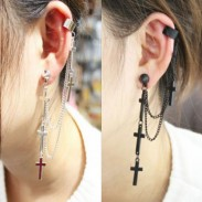 Vintage Cross Tassel  Single Earrings&Ear Clip