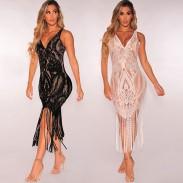 Sexy Hollow Lace Tassel Bikini Perspective Blouse Dress
