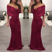 Sexy Shoulder Backed Skirt Dresses Long Party Dress