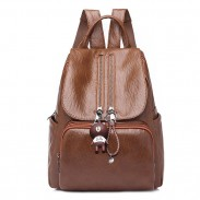 Retro Soft PU Ladies Double Zipper Brown School Bag Women's Backpack