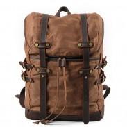 Retro Men's Double Leather Belt Waterproof Rucksack Outdoor Travel Backpack