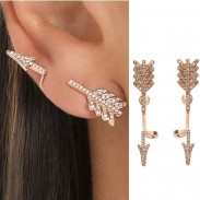 Punk 3D Diamond Exaggerated Split Arrow Earrings Studs