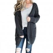 Leisure Medium Long Large Ladies Twist Knit Cardigan Women Sweater