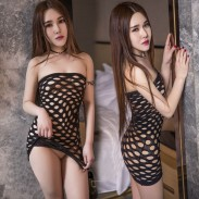 Sexy Mesh Intimate Fish Net Black Nightdress Women Lingerie