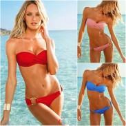 New Style Bandeau Padded Bra Low Rise Bikini
