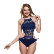 Sexy Lace Hollow One-piece Women Net Conjoined Bikinis Mesh Swimsuit