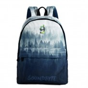 Unique Blue Ink Painting Tree Forest High School Bag Canvas Large Backpack