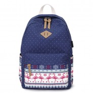 Fresh Dot Pig Nose Crane Bird Print Totem Folk Style Canvas School Backpack
