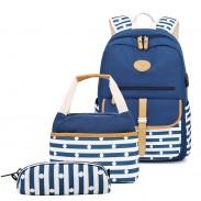 Single Buckle Stripe Dot School Bag For Teen Laptop Bag Rucksack With USB Port Handbag Pencil Case 3 Piece Set Student College Canvas Backpacks