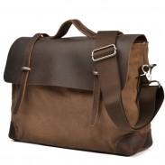 Leisure Leather Solid Canvas Briefcase Handbag Laptop Messenger Bag Shoulder Bag