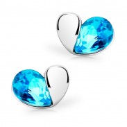 Crystal Magic Heart Gold Plated Stud Earrings