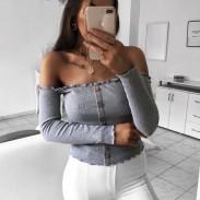 Sexy Body-con Women's Tops  Off Shoulder Long Sleeve Coat
