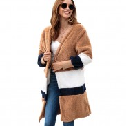 Leisure Warm Velvet Loose Long Sweater Women Striped Long Cardigan Autumn Coat