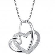 Elegant Twined Heart Shape Silver Pendant