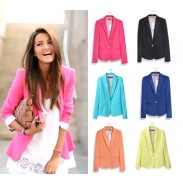 Candy Color Slim Lapel Suits Coats
