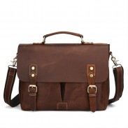 Vintage Double Buckle Messenger Bag Large Original Handmade Leather Handbag Shoulder Bag