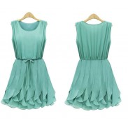 Fashion Mint Green Flounced Chiffon Vest Dress