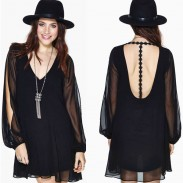 Deep V On Back Embroidery Long Transparent Split Sleeve Dress