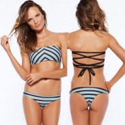 Wavy Striped Print Bikinis Set Bandage Swimwear Beach Bathing Suit