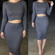 Women's Knit Midi Skirt Outfit Two Pieces Bodycon Tight Dress