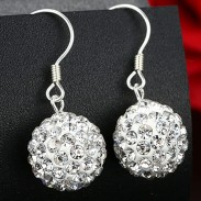 Fashion White Shining Diamond Ball Silver Women Drop Earrings