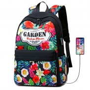 Fresh Flower Garden Student Bag USB Floral Large College Canvas Backpack