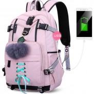 Leisure USB Interface Nylon Student Bag Girls Waterproof Bandage Junior High School Backpacks