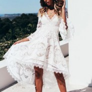 Leisure White Deep V Lace Irregular Hollow Middle Sleeves Lace Summer Dress