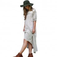 Leisure Asymmetrical Hem V-neck Splice Lace Rolled Sleeves Long Dress