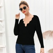 Leisure Pure Color Knit Slim V-neck Long-Sleeved Cardigan Autumn Winter Women Sweater