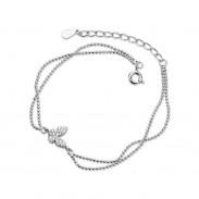 Fashion Butterfly Double Layer Silver Butterfly Diamond Jewelry Adjustable Women Anklets Bracelet