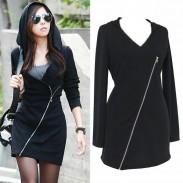Casual Oblique Zipper Hooded V-neck Elastic Waist Long Sleeved Lady Dress
