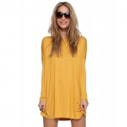 Minimalist Stem-pipe Casual O-neck Sexy Long Sleeve Solid Loose Dress
