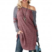 Unique Women's Long Sleeve Stitching Strapless Long Sweater
