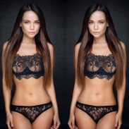 Sexy Temptation Flower Eyelash Lace Bra Set Black Perspective Underwear Lingerie
