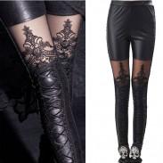 Leatherette Straps Crochet Lace Leggings