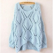 Leisure Loose Round Neck Argyle Hollow Sweaters