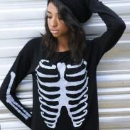 Womens Skull Printing Embroidery Sweater Sweatshirt Top