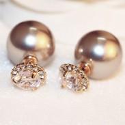Fashion Double Sided Pearl Ball Crystal Women Earrings Studs
