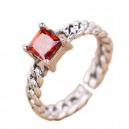 Retro Thai Silver Square Red Zircon Twist Weave Open Rings
