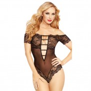 Sexy Lace Coveralls Hollow Deep V Temptation Perspective Conjoined Intimate Lingerie