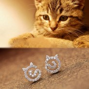 Cute Kitten Rhinestone Earrings Cat Silver Women Earrings Studs